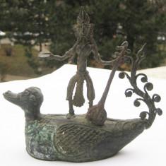 Statueta bronz Zeu Akan Ashanti figurina arta tribala Africa 17x19cm - Arta din Africa