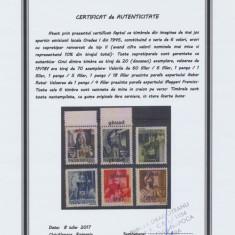 ROMANIA Ardealul de Nord serie 6v sursarj ranversat tip II Oradea I tiraj 20 buc - Timbre Romania, An: 1945, Nestampilat