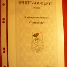 Carton prezentare speciala Ersttag - Pt.protectia animalelor 1981 RFG