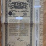 Obligatiunea Municipala 4.5% Orasul Braila 500 Lei  Aur 1912  Cupoane 6-40