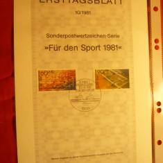 Carton prezentare speciala Ersttag - Pentru Sport -Planoare ,Canotaj 1981 RFG