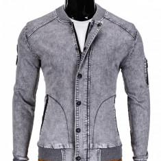 Jacheta pentru barbati, de blugi, cu fermoar si capse, gri, casual, slim fit - C240, L, M, S, XL, XXL