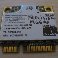 Placa wireless Dell Precision M6600, Intel Advanced-N 6205, 6205ANHMW, 0X9JDY