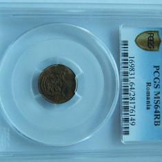 1 banu 1867 Watt&Co, PCGS, MS64 RB - Moneda Romania