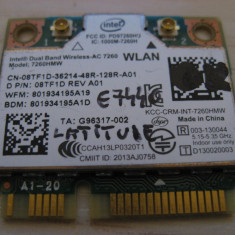 Placa wireless Dell Latitude E7440, Intel Wireless-AC 7260, 7260HMW, 08TF1D