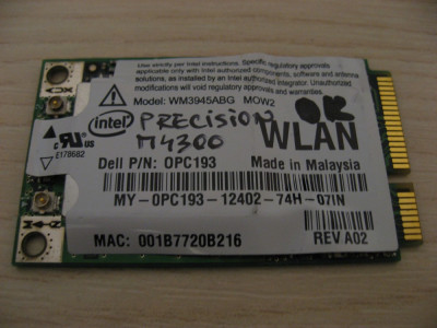 Placa wireless Dell Precision M4300, Intel WM3945ABG MOW2, 0PC193 foto