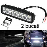 Proiectoare LED auto offroad 18W/12V-24V, 1320 lumeni 15.5cm  2 bucati, Universal