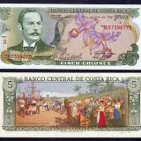 COSTA RICA. 5 COLONES 1989. UNC.