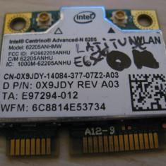 Placa wireless Dell Latitude E6520, Intel Advanced-N 6205, 6205ANHMW, 0X9JDY