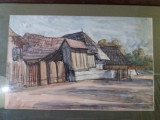 Tablou-RODICA MANIU-Case in Ardeal,acuarela, Peisaje, Realism