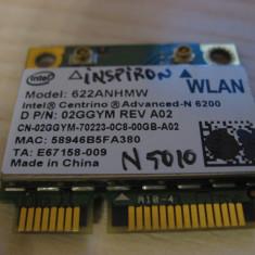 Placa wireless Dell Inspiron N5010, Intel Advanced-N 6200, 622ANHMW, 02GGYM