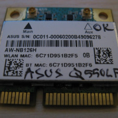 Placa wireless Asus Q550LF, AzureWave AW-NB126H, Atheros AR5B225, 0C011-00060200