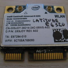Placa wireless Dell Latitude E6320, Intel Advanced-N 6205, 6205ANHMW, 0X9JDY