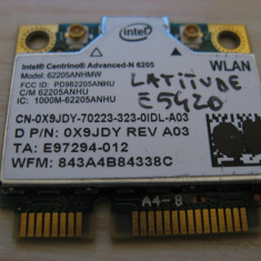 Placa wireless Dell Latitude E5420, Intel Advanced-N 6205, 6205ANHMW, 0X9JDY