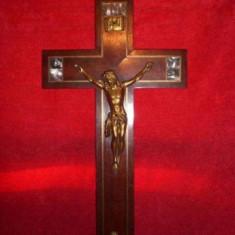 Crucifix lemn mahon, bronz d'ore, insertii alama, sidef, vintage