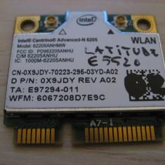 Placa wireless Dell Latitude E5520, Intel Advanced-N 6205, 6205ANHMW, 0X9JDY