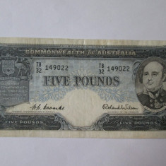 Rara! Bancnota Australia-Commonwealth 5 Pounds 1954-1959