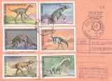 AVIS DE PRIMIRE,FRANCAT CU TIMBRE SERIE COMPLETA ANIMALE PREISTORIC 1995,ROMANIA
