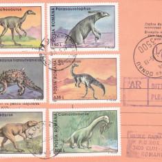 AVIS DE PRIMIRE, FRANCAT CU TIMBRE SERIE COMPLETA ANIMALE PREISTORIC 1995, ROMANIA