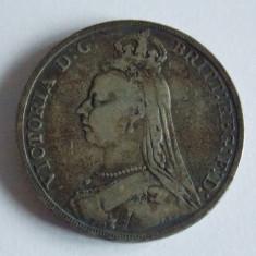 Moneda de argint 1 coroana Anglia 1891, Europa