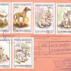 AVIS DE PRIMIRE, FRANCAT CU TIMBRE SERIE COMPLETA ANIMALE! 1995, ROMANIA.
