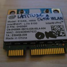 Placa wireless Dell Latitude E6510, Intel WiFi Link 5100, 512AN_HMW, 0H006K