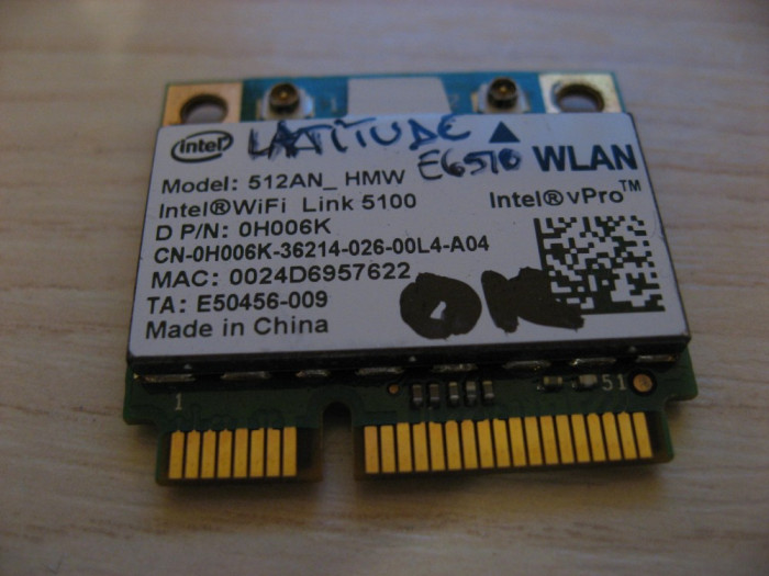 Placa wireless Dell Latitude E6510, Intel WiFi Link 5100, 512AN_HMW, 0H006K