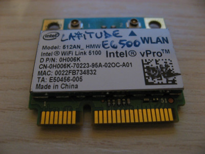Placa wireless Dell Latitude E6500, Intel WiFi Link 5100, 512AN_HMW, 0H006K foto