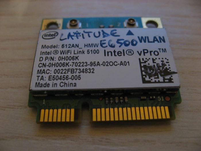 Placa wireless Dell Latitude E6500, Intel WiFi Link 5100, 512AN_HMW, 0H006K