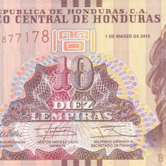 Bancnota Honduras 10 Lempiras 2012 - P86f UNC - bancnota america