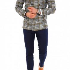 Palton pentru barbati, gri in carouri - LICHIDARE DE STOC - 9690 - Palton barbati, Marime: S, M, L, XL, XXL, Culoare: Din imagine