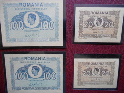 Lot 20/100 lei 1945 Romania foto