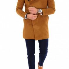 Palton pentru barbati, asimetric, maro - LICHIDARE DE STOC - 9688 - Palton barbati, Marime: S, M, L, XL, XXL, Culoare: Din imagine
