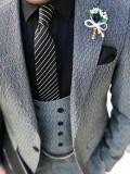 Costum barbati 3 piese slim model 2017 Ultima creatie !, 1 nasture, Normal, Gri