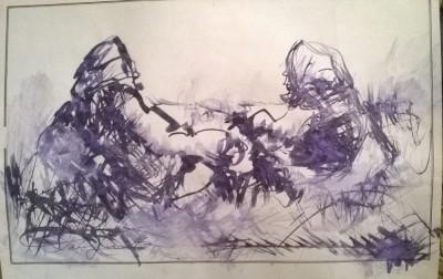 Peisaj la camp cu doua personaje .Odihna foto