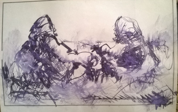 Peisaj la camp cu doua personaje .Odihna foto mare