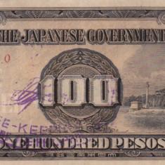 OCUPATIA JAPONEZA IN FILIPINE 100 pesos 1943 VF+!!! - bancnota asia