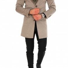 Palton pentru barbati, bej cu blana - LICHIDARE DE STOC - 9672 - Palton barbati, Marime: S, M, L, XL, Culoare: Din imagine