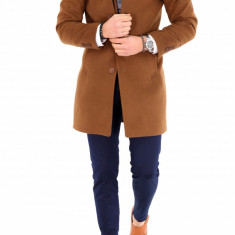 Palton pentru barbati, maro cu guler detasabil - LICHIDARE DE STOC - 9686 - Palton barbati, Marime: S, M, L, XL, Culoare: Din imagine