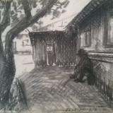 Peisaj gospodarie - Pictor roman, Peisaje, Carbune, Impresionism