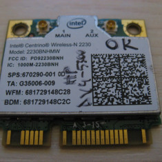 Placa wireless HP Envy dv4-5300, Intel Wireless-N 2230, 2230BNHMW, 670290-001
