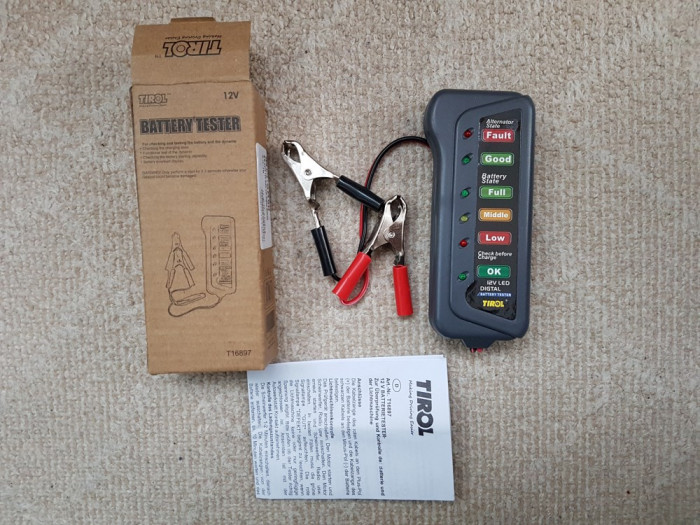 Tirol BST100 12V Tester universal de baterii si alternator auto