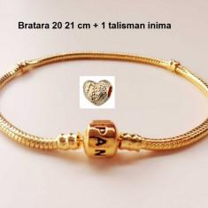 Bratara PANDORA GOLD (2 modele la alegere) placat aur + 1 charm inima cadou - Bratara argint pandora, Femei