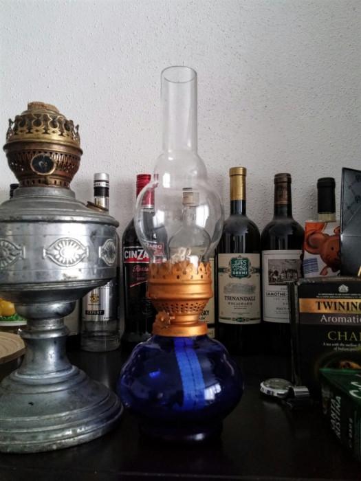 LAMPA GAZ CU STICLA ALBASTRA