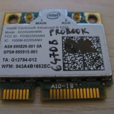 Placa wireless HP ProBook 6470b, Intel 6205, 62205ANHMW, 696826-001, 695915-001