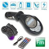 Modulator FM MP3 Player Auto cu Telecomanda cu Fixare pe Volan si Normala, LCD, USB, AUX IN, Card SD - Modulator FM auto
