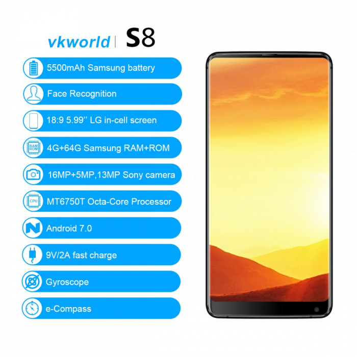 Smartphone WK World S8,Android 7,Display 5,99 inch Gorilla Glass4,4GB/64GB foto mare