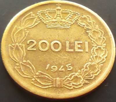 Moneda 200 Lei - ROMANIA, anul 1945   *cod 4256 foto