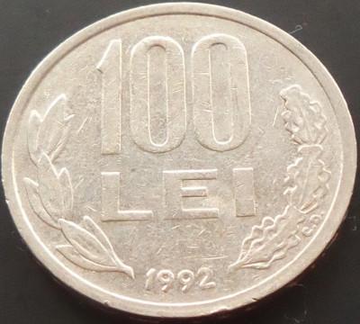 Moneda 100 LEI - ROMANIA, anul 1992 *cod 1772 foto