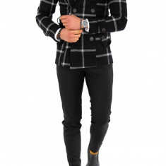 Palton pentru barbati, negru in carouri - LICHIDARE DE STOC - 9705 - Palton barbati, Marime: S, M, L, XL, XXL, Culoare: Din imagine